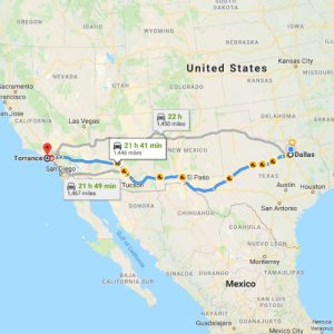Popular Car Shipping Routes - Dallas, TX to Torrance, CA